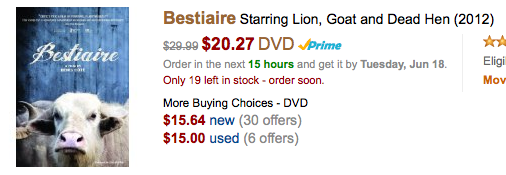 'Bestiaire' starring Lion, Goat and Dead Hen (2012) $20.27 DVD