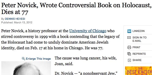 Peter Novick, Wrote Controversial Book on Holocaust, Dies at 77